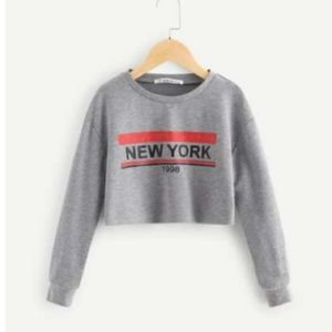 """Shein """"new york"""" cropped long sleeve"""